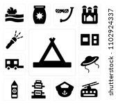 set of 13 icons such as tent ...
