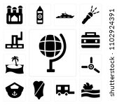 set of 13 icons such as earth...