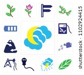 set of 13 icons such as night...