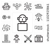 set of 13 icons such as cyborg  ...