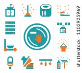 set of 13 icons such as dish ...