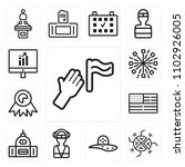 set of 13 icons such as protest ...