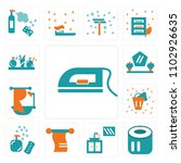 set of 13 icons such as ironing ...