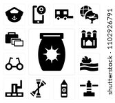 set of 13 icons such as sun...