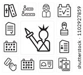 set of 13 icons such as statue...