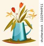 a beautiful summer bouquet in a ... | Shutterstock .eps vector #1102944911