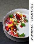 fine dining dessert  raspberry...   Shutterstock . vector #1102952411