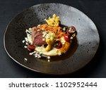 fine dining venison steak with...   Shutterstock . vector #1102952444