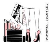 vector girl in high heels... | Shutterstock .eps vector #1102954319