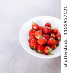 top of view fresh strawberry in ... | Shutterstock . vector #1102957121