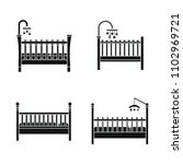 baby crib cradle bed icons set. ... | Shutterstock .eps vector #1102969721