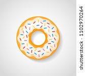 sweet donut with white glaze... | Shutterstock .eps vector #1102970264