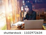 asian business woman working in ... | Shutterstock . vector #1102972634
