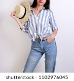 fashion. young woman in...   Shutterstock . vector #1102976045