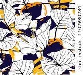 tropical  modern stripes motif. ... | Shutterstock .eps vector #1102980284