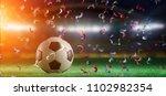 view of a 3d rendering football ...   Shutterstock . vector #1102982354
