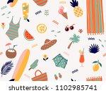 summer holidays cute seamless... | Shutterstock .eps vector #1102985741