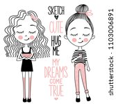 vector set with cute little... | Shutterstock .eps vector #1103006891