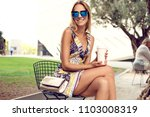 summer sunny lifestyle portrait ... | Shutterstock . vector #1103008319