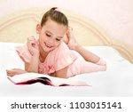 adorable little girl child is... | Shutterstock . vector #1103015141