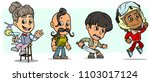 cartoon funny boy and girl... | Shutterstock .eps vector #1103017124