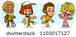 cartoon funny boy and girl... | Shutterstock .eps vector #1103017127