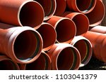 pvc pipes on the warehouse.... | Shutterstock . vector #1103041379