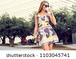 summer sunny lifestyle portrait ... | Shutterstock . vector #1103045741