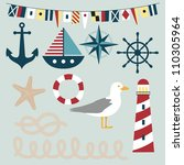 collection of nautical themed... | Shutterstock . vector #110305964