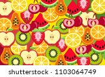 mixed fruit background | Shutterstock .eps vector #1103064749