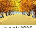 Alley In Autumn Park Between...