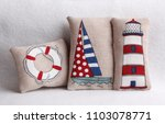 summer pillows with coastline... | Shutterstock . vector #1103078771