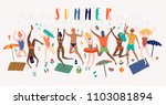 summer beach cartoon vector... | Shutterstock .eps vector #1103081894