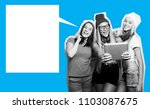 three girls friends taking...   Shutterstock . vector #1103087675