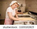 woman baker working in bakery... | Shutterstock . vector #1103102825