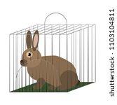 rabbit in cage vector... | Shutterstock .eps vector #1103104811
