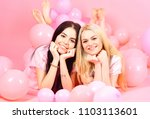 brunette and blonde cute women... | Shutterstock . vector #1103113601