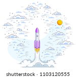 rocket launch into cloudy... | Shutterstock .eps vector #1103120555