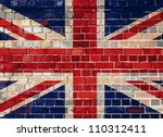 union flag on a brick wall... | Shutterstock . vector #110312411