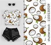 vector background of coconuts.... | Shutterstock .eps vector #1103130539