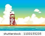 lifeguard station on a beach... | Shutterstock .eps vector #1103155235