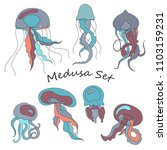 vector set of colorful marine... | Shutterstock .eps vector #1103159231