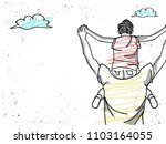 father giving son ride on back ....   Shutterstock .eps vector #1103164055