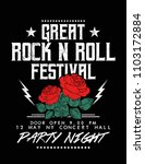 rock and roll text with rose...   Shutterstock .eps vector #1103172884