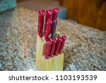 knife block knives cutting... | Shutterstock . vector #1103193539
