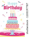 happy birthday card  cute... | Shutterstock .eps vector #1103197787