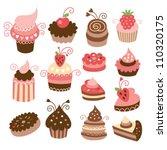 set of cute little cakes | Shutterstock .eps vector #110320175