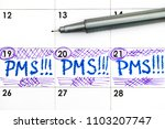 reminder pms in calendar with... | Shutterstock . vector #1103207747