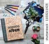 flat lay scrapbook accesories    Shutterstock . vector #1103211425