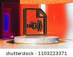 golden file audio icon on white ...